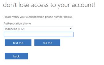 verifikasi nomer hp pendaftaran microsoft office 365